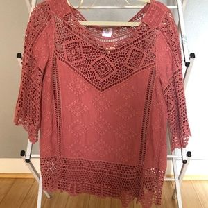 Tops - Deep Coral crochet/lace Top